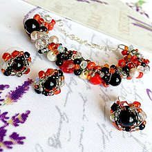 Sady šperkov - Red Black Orange Beaded Set / Sada korálkových šperkov /1442 - 10311877_