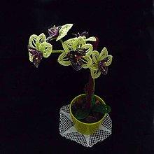 Dekorácie - Orchidej zelenofialová korálková - 10313885_