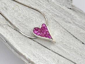 Náhrdelníky - CERTIFIKÁT 925 Striebrné srdce s rubínom z Burmy + retiazka - 10314357_