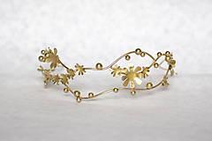 Ozdoby do vlasov - Jedinečná dvojradová čelenka so zlatými kvetmi a guličkami - Slavianka - 10314239_