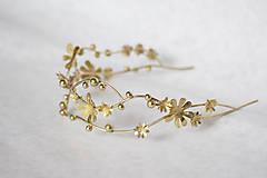 Ozdoby do vlasov - Jedinečná dvojradová čelenka so zlatými kvetmi a guličkami - Slavianka - 10314242_