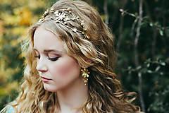 Ozdoby do vlasov - Jedinečná dvojradová čelenka so zlatými kvetmi a guličkami - Slavianka - 10314246_