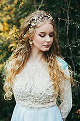Ozdoby do vlasov - Jedinečná dvojradová čelenka so zlatými kvetmi a guličkami - Slavianka - 10314247_