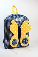 Detské tašky - RUKSAK s motylikom žlto - tmavomodrý, od 2,5r. (bez mena) - 10315015_