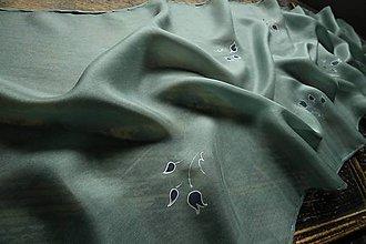 Šály - Zelený kvetinkový šál - 10314223_