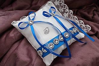 """Prstene - Svadobný vankúšik na obrúčky """"kráľovská modrá"""" - 10314461_"""