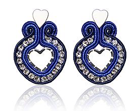 Náušnice - Mini srdiečka Chromantic ♥ (Modré) - 10314436_