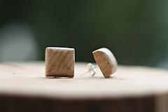 Náušnice - Drevené náušnice- hranaté svetlé - 10314158_