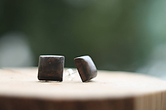 Náušnice - Drevené náušnice- hranatý palisander - 10314219_
