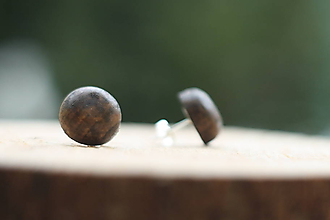 Náušnice - Drevené náušnice- guľatý palisander - 10314194_
