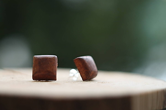 Náušnice - Drevené náušnice- hranatá čerešňa - 10314231_