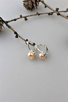Náušnice - perly prírodné - náušnice (marhuľová perla) - 10313361_