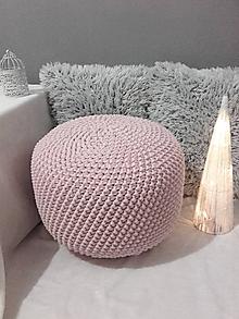 Úžitkový textil - Háčkovaný PUF svetloružový - 10313077_