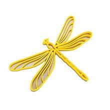 Odznaky/Brošne - Vážka silver/traffic yellow - 10314798_