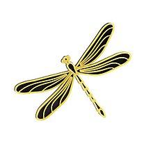 Odznaky/Brošne - Vážka black/gold - 10314808_