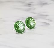Náušnice - Napichovacie náušnice - zelené - trblietavé - 10313251_