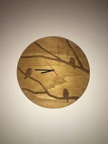 Hodiny - Drevené hodiny Birds - 10315377_
