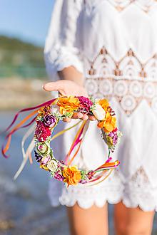 Ozdoby do vlasov - Pestrofarebný letný venček Skittles - 10312823_