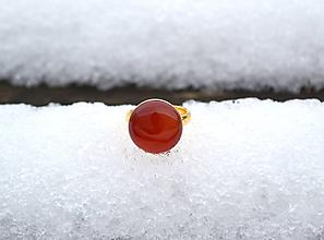 Prstene - Achát pozlátený strieborný prsteň - 10312400_