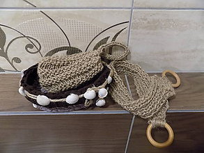 Košíky - Kúpeľňový set v košíčku....žinka z juty a žinka na chrbát - 10313954_