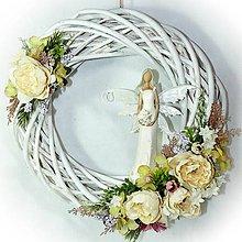 Dekorácie - Věneček celoroční - Bílý s Andělkou - 10314704_