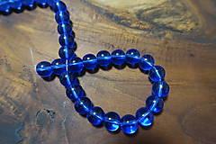 Korálky - Sklenené priehľadné modré 10mm - 10311263_