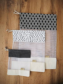 Úžitkový textil - Recyklovateľné vrecká sada (Čierna) - 10314251_