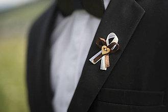 Pierka - Bielo-krémovo-hnedé svadobné pierka - 10312064_