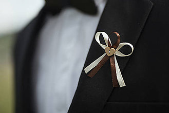 Pierka - Krémovo - hnedé svadobné pierka - 10312088_