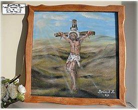 """Obrazy - """"Ježiš na kříži""""-malba v drevenom ráme :) - 10313476_"""