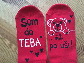 """Obuv - Maľované ponožky s nápisom: """"Som do teba / až po uši"""" (Červené 2) - 10311404_"""