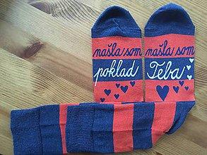 """Obuv - Maľované pásikavé ponožky s nápisom: """"našla(/našiel) som poklad /našla(/našiel) som teba"""" - 10312150_"""