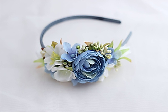 Ozdoby do vlasov - Čelenka modro-biela - 10313422_