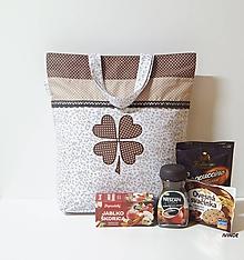 Nákupné tašky - Nákupná taška - s hnedým štvorlístkom - 10311349_