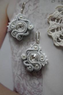 Náušnice - svadobné náušnice strieborno-biele - 10311619_