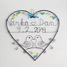 Dekorácie - veľké rozkvitnuté srdce - svadobné 30cm (s dátumom a menami) - 10315652_