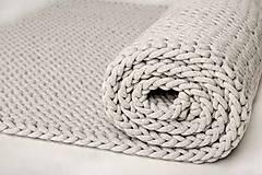 Úžitkový textil - Veľký pletený koberec (Šedá, výška 15mm) - 10316624_