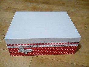 Krabičky - červená s bodkami - 10319780_