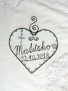 Dekorácie - srdiečko s menom a dátumom (Modrá) - 10316639_