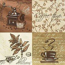 Papier - S1382 - Servítky - káva, coffee, kafé, cappuccino, zrnko kávy - 10315587_