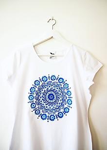 Tričká - Biele tričko s modrou mandalou - L - 10316293_