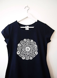 Tričká - Tmavomodré tričko s bielou mandalou - M - 10316343_