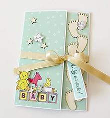 Papiernictvo - pohľadnica k narodeniu dieťatka - 10315594_