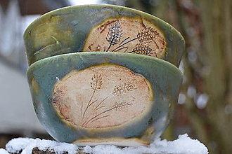 Nádoby - misky raňajkové, zelené, medienkové - 10319029_