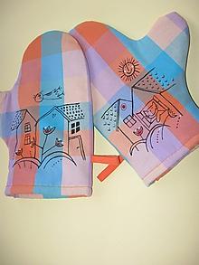Úžitkový textil - chňapky s domečky - 10316602_