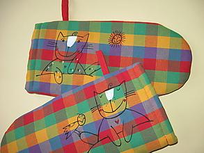 Úžitkový textil - chňapky s kočkami - 10316653_