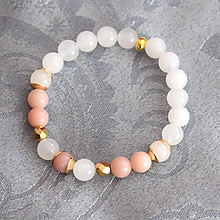 Náramky - Mantra minerál Opál ružový a biely Jadeit - 10319649_