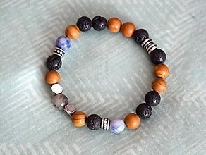 Šperky - Pánsky mantra náramok: Amazonit, Jaspis,Láva a Sodalit - 10319660_