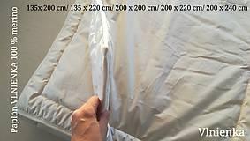 Úžitkový textil - Paplón VLNIENKA 200 x 240 cm LUXUS 100% MERINO a 100% SÝPKOVINA - 10319431_