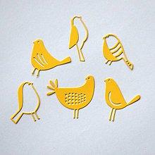 Materiál ručne robený - Výrezy Vtáčiky (Oranžová) - 10316129_